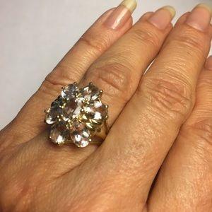 Morganite Flower Cocktail Ring 10Kt Gold Sz 8